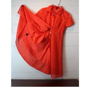 Ann Taylor Petite Orange Eyelet Shirt Dress